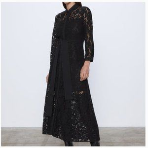 ZARA Black Lace Maxi Dress Medium